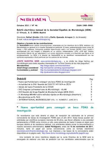 Nº 46 - Octubre 2011 - Sociedad Española de Microbiología
