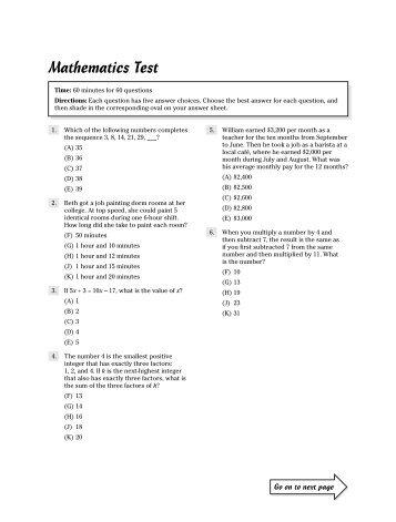 Practice Math ACT test 1 - Cass Technical High School