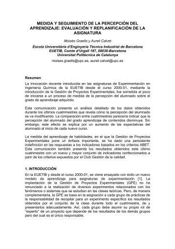 medida y seguimiento de la percepción del aprendizaje ... - UPC