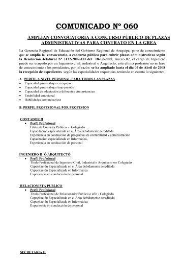 comunicado nº 060 amplían convocatoria a concurso público de ...