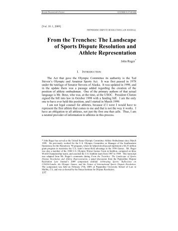 From the Trenches: The Landscape of Sports Dispute Resolution ...