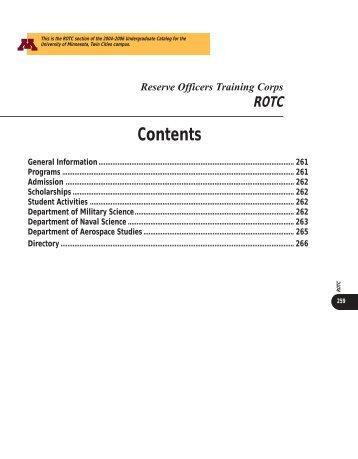 ROTC - University Catalogs - University of Minnesota