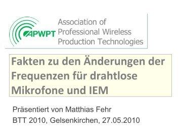 BTT2010: Frequenzen für Drahtlos-Mikrofone - apwpt