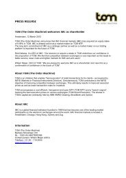PRESS RELEASE - TOM Group