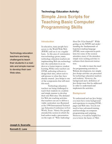 Simple Java Scripts for Teaching - International Technology and ...