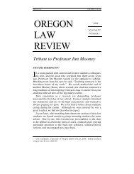 Tribute to Professor Jim Mooney - Oregon Law - University of Oregon