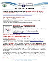 UPCOMING EVENTS - City of Weston