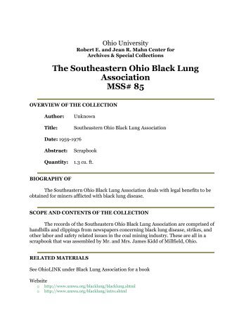 The Southeastern Ohio Black Lung Association MSS# 85