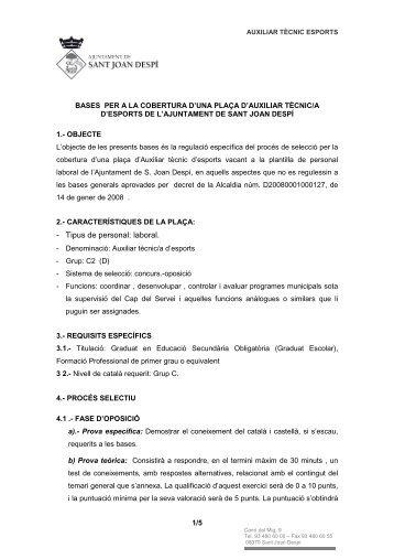 BASES AUX TECNIC ESPORTS.pdf - Ajuntament de Sant Joan Despí