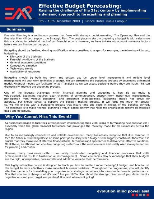 Effective Budget Forecasting: - EMP Asia