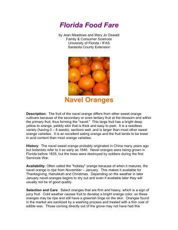 Florida Food Fare Navel Oranges - Sarasota County Extension ...