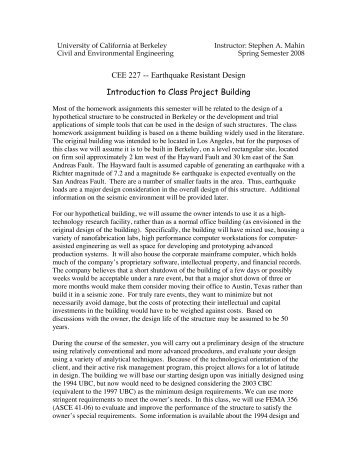 CEE 227 -- Earthquake Resistant Design Introduction to Class ...