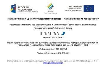 Regionalny Program Operacyjny Województwa Śląskiego ... - mmj