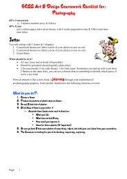 GCSE Art & Design Coursework Checklist for - Magdalen Court School