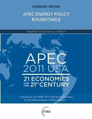 apec energy policy roundtable - The National Bureau of Asian ...