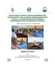 Evaluation de l'impact socio-économique des fours offerts par le ...