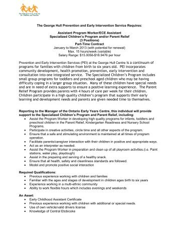 programs for families with children from birth to six years old. PEI ...