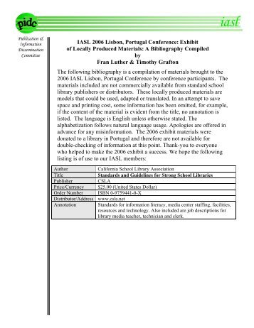 Bibliography 2006 - International Association of School Librarianship