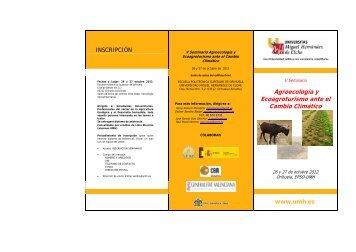 Tríptico informativo - Sociedad Española de Agricultura Ecológica