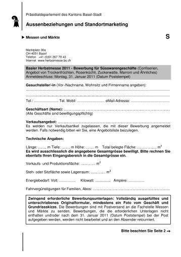 Bewerbung für Süsswarengeschäfte 2011 - Messen und Märkte ...
