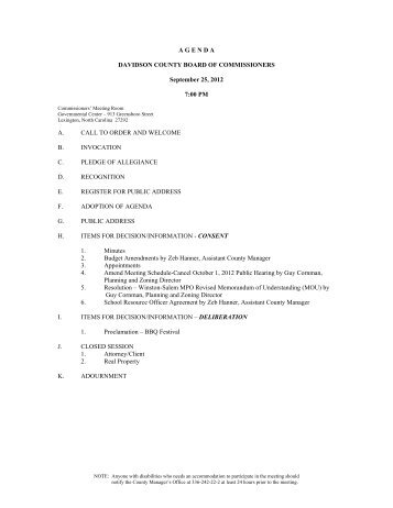 2012-September 25 Agenda - Davidson County, NC