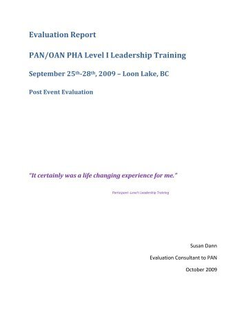 Evaluation Report PAN/OAN PHA Level I Leadership Training