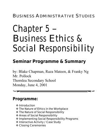 ethics and social responsibility in the workplace