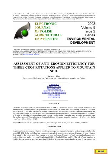 assessment of anti-erosion efficiency for three crop rotations applied ...