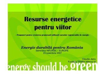 Proiectul Resurse energetice pentru viitor