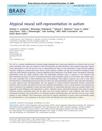 Atypical neural self-representation in autism - Autism Research Centre