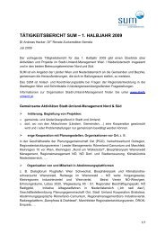 tätigkeitsbericht sum – 1. halbjahr 2009 - Stadt-Umland Management