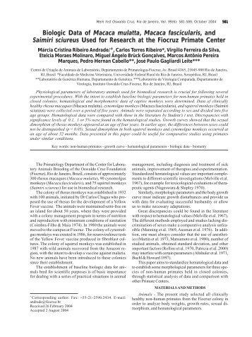 Biologic Data of Macaca mulatta, Macaca fascicularis, and ... - SciELO