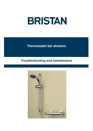 Troubleshooting and maintenance Thermostatic bar showers