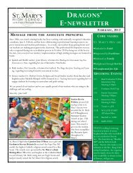 Dragon's E-Newsletter - St. Mary's High School