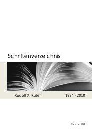 Schriftenverzeichnis - Rudolf X. Ruter