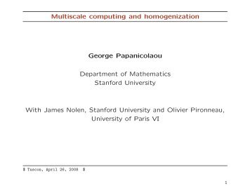 Projection Methods for Multiscale Computing and Homogenization