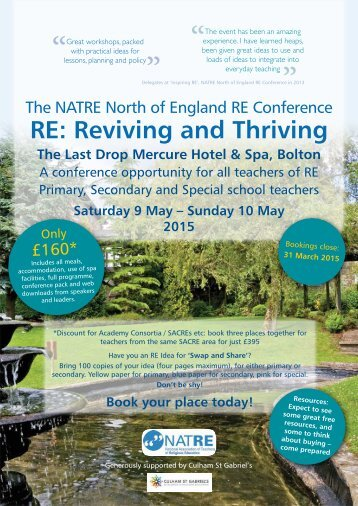 Reviving and thriving Flyer & Booking form