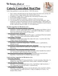 Calorie Controlled Meal Plan - Scarsdale Medical Group
