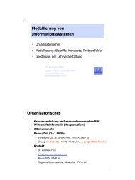 Modellierung von Informationssystemen Organisatorisches