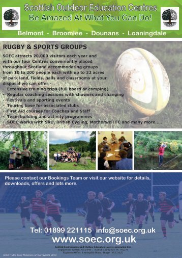01899 221115 info@soec.org.uk RUGBY & SPORTS GROUPS