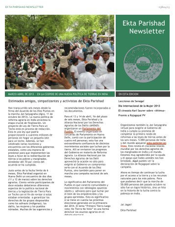 Newsletter March April 2013 esp - Ekta Parishad