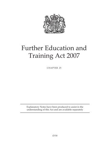 Further Education and Training Act 2007 - The History of Education ...