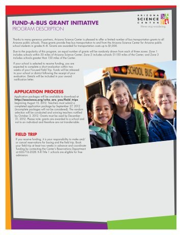 FUND-A-BUS GRANT INITIATIVE - Arizona Science Center