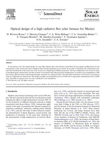 Optical design of a high radiative flux solar furnace for Mexico