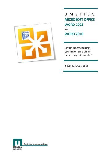 Kursunterlage Umstieg MS Word 2003 auf 2010