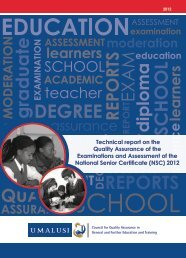 Technical report on the Quality Assurance of the ... - Umalusi