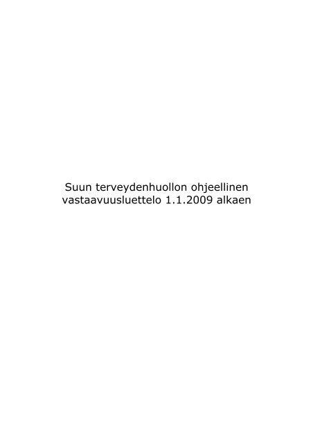 Suun terveydenhuollon vastaavuusluettelo 2009 - Kunnat.net