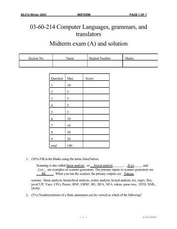 03-60-214 Computer Languages, grammars, and translators ...