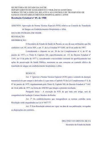 Resolução nº 05, de 1988 - Secretaria da Saúde
