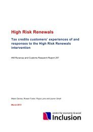 Tax credits customers' experiences of the High Risk Renewals